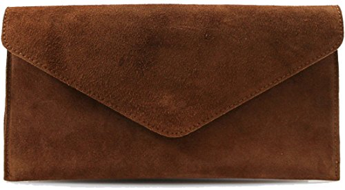 Genuine Italian Suede Leather Envelope Clutch Bags Party Wedding Purse Handbag Cross Over Bag Brown