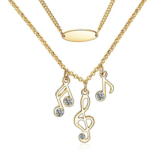 CONNIE.Y 14k Rose Gold Plated Lady Fashion Necklace Musical Note Design - Gold Plated Music Fashion Jewelry
