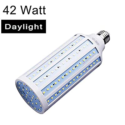 Clearance Sale 42W E26 LED Corn Light Bulb for Street Lamp Post Lighting Garage Factory Warehouse High Bay Barn Porch Backyard Garden Super Bright,4200Lm 6500K Daylight Super Bright,85V-265V