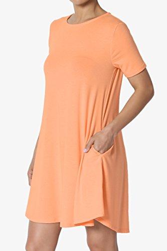 Tunic Trapeze Short Neck Mini Pocket TheMogan Dress Basic Peach Sleeve Crew Short S~3X Cp0qwxzH
