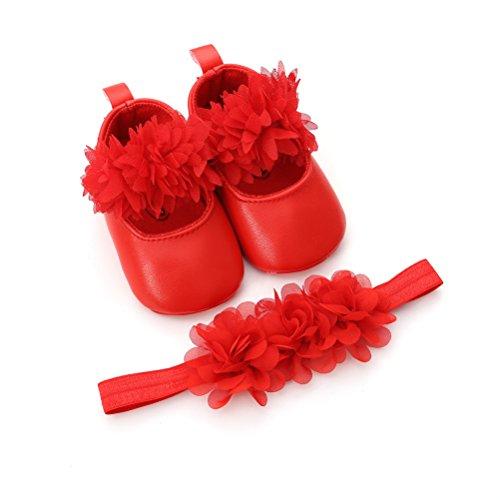 Scarpe Bambina Battesimo Anti Scivolo Per Set Jane Con Regalo Cerchietto Mary Neonata Fiore Rosso 0x8I0r