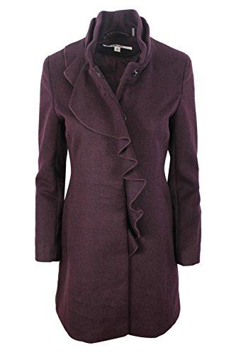 DKNY Women's Bordeaux Ruffled Warm Wool Blend Fitted Coat, 6P -