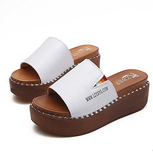 Aire Zapatos de Gruesas Impermeables al Mujer Sandalias Simples Pantuflas y enrollando Inferiores Blanco Libre arrastrando Zapatos SOwn0qfY
