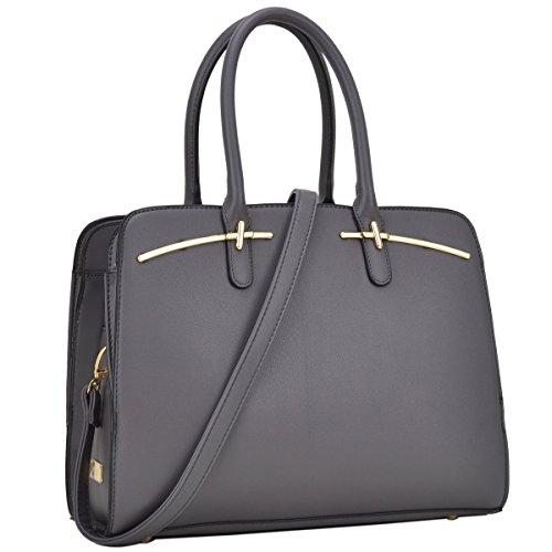 DASEIN Women Briefcase Handbag Large Satchel Purse Designer Structured Work Bag with 3 Compartments (Briefcase-3 compartments Grey)