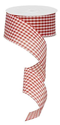 (Gingham Check Wired Edge Ribbon, 2.5