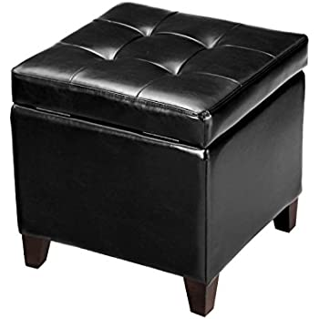 Amazon Com Adeco Ft0009 1 Bonded Leather Square Tufted