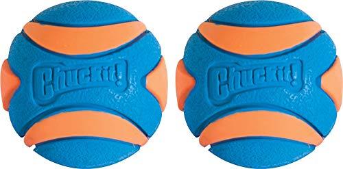 Fetch Dog Toy Ball (Chuckit! Ultra Squeaker Dog Ball High Bounce Blue/Orange 3 Sizes)