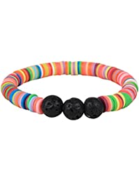 """Unicorn Collection"" Multi Heishi and Black Lava 8mm Essential Oil Bracelet (Rubber, Black Lava)"