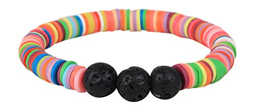 "Price comparison product image Leboha ""Unicorn Collection"" Multi Colored and Black Lava 8mm Essential Oil Bracelet (Rubber and Black Lava) (Pink Multi/Kid (6""))"