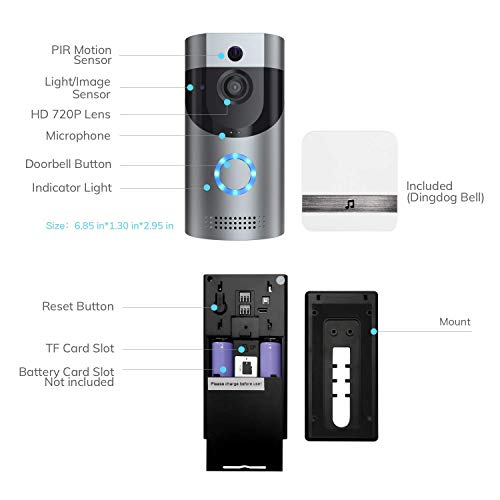 Smart Video Doorbell, Wonbo 720P HD WiFi Security Camera, Real-time HD Monitoring, Waterproof, Two-Way Communication and Remote App Control (Silver) by homectrl (Image #2)
