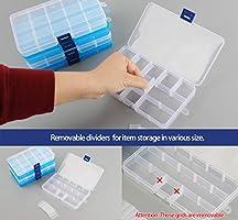 Caja de almacenamiento de cuentas de plástico con compartimentos y separadores móviles para pequeños pendientes, joyas, manualidades, costura, 15 cuadrículas, 6 unidades: Amazon.es: Juguetes y juegos