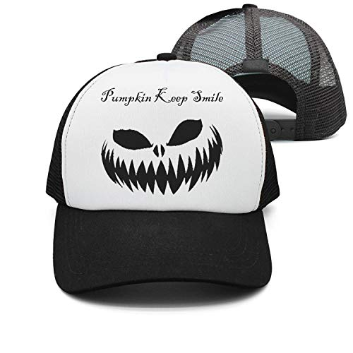 Men Women Mesh Hiphop Cap Adjustable Pumpkin Keep Smile Black -