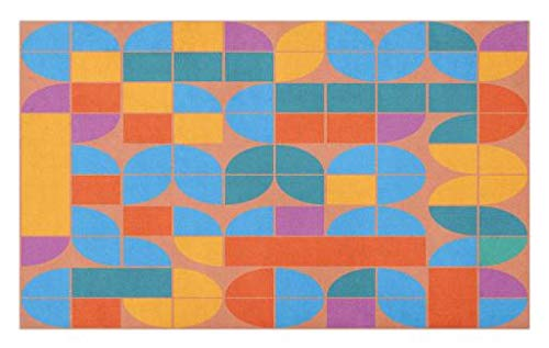 Lunarable Geometric Doormat, Retro Style Mosaic Geometric Shapes of Quadrants and Squares in, Decorative Polyester Floor Mat with Non-Skid Backing, 30 W X 18 L Inches, Multicolor