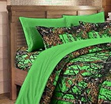 20 Lakes Microfiber 6 Piece Powder Blue Camo Rustic Bed Sheet Set & Pillowcases (Bio Green)