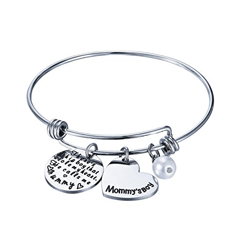 CJ&M Mom Son Bracelet - Mother's Day Gift From Son There Is A Boy Who Stole My Heart, He Calls Me Mom Bangle Bracelet (Mother Bracelet)]()