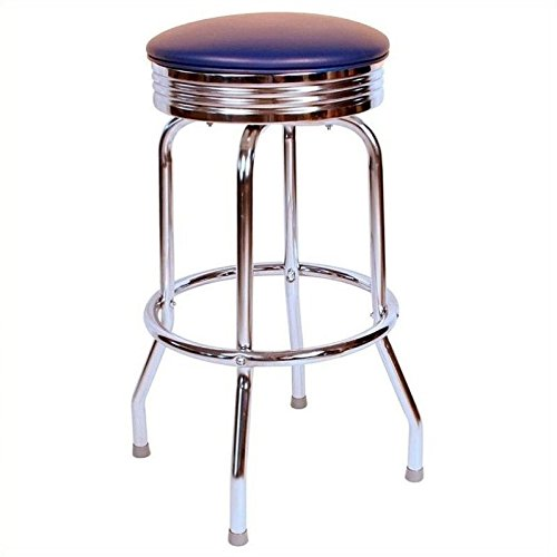Richardson Seating Retro 1950s Chrome Swivel Bar Stool with Blue Seat - 24