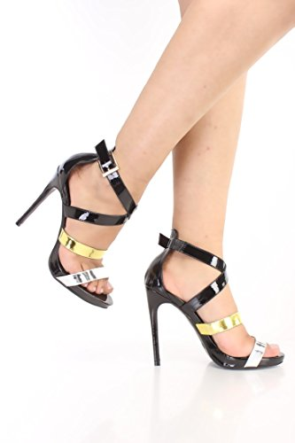 Metallic Heels Color Block Faux Leather Strappy Black Stiletto S1Xq6dA1
