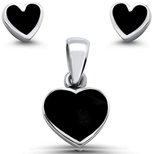 Oxford Diamond Co Sterling Silver Heart Black Onyx Earring & Pendant Set