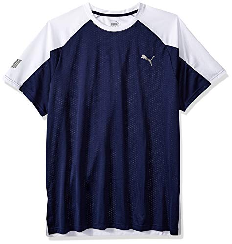 (PUMA Men's A.C.E. Short Sleeve Block TEE, Peacoat White, M)