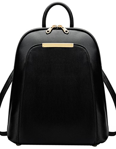 Coofit Women's Leather Backpack Handbags Ladies Daypacks Girls Vintage School Travel Bag (Large, Vintage Black) - more-bags