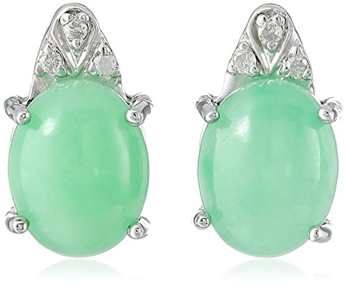 Shape Diamond Jade (Rhodium-Plated Sterling Silver Onyx | Jade | Aquamarine and Diamond Accent Stud Earrings)