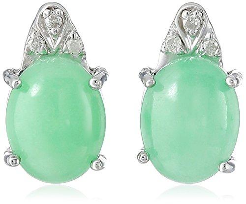 Shape Jade Diamond (Rhodium-Plated Sterling Silver Onyx | Jade | Aquamarine and Diamond Accent Stud Earrings)