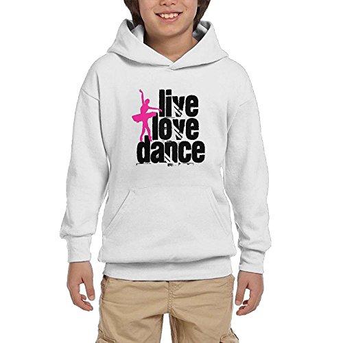 discount Pulongpoq Live, Love, Dance Youth Boys/Girls Long Sleeve Hoodie Sweatshirt Pullover Hood SozeKey White