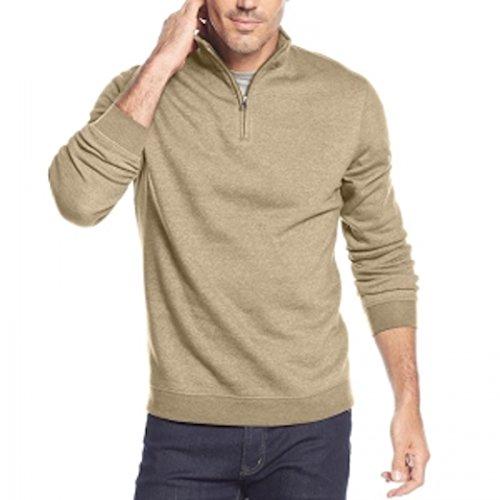John Ashford Mens Fleece 1/4 Zip Funnel-Neck Sweatshirt Beige - Store Ashford