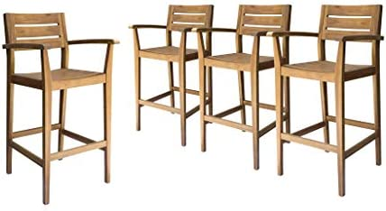 Great Deal Furniture Blair Outdoor Rustic Acacia Wood Barstool Set of 4 , Teak