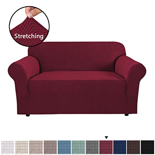 H.VERSAILTEX Loveseat Slipcovers for 2 Cushions Sofa 1 Piece Furniture Cover for Loveseat Rich Textured Lycra High Spandex Checked Pattern Loveseat Covers for Living Room, 2 Seater, Burgundy Red (Cushion Set Sofa)