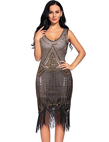 Sexy Fringed Flapper Dress - Women's Vintage 1927s Fringed Gatsby Sequin Beaded Tassels Hem Flapper Dress (S, Beige Gold)
