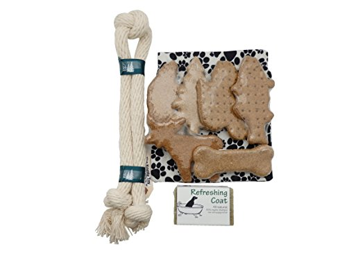 Pampered Puppy Welcome Gift - Made in NH Treats Tug Toy and Refreshing Shampoo - In Paw Print Fleece Bag
