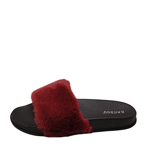 Comfortabele Bamboemand 02m Dames Faux Fur Slide Sandalen Bordeaux Rood