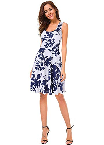 186cd48a6bb Women s Hawaiian Dresses Floral Print Summer Beach Casual Fit Dresses  Sleeveless Midi Dress (Dark Blue