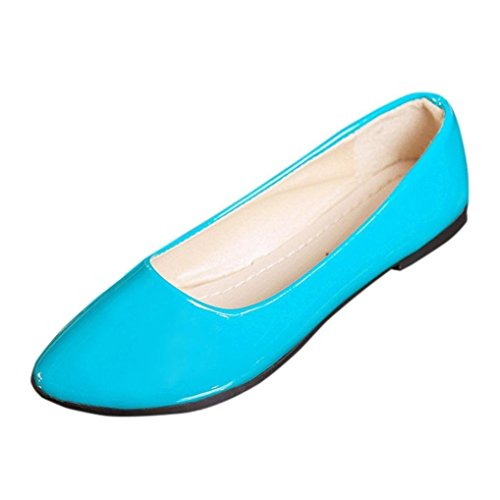 Women's Flats Ballet Pointy Toe Casual Flat OL Slip-On Sandals Boat Office Shoes (Blue, US:5.5 (35))