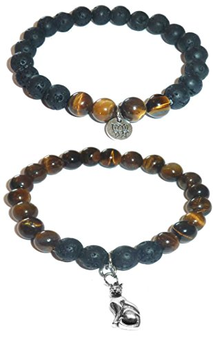 Cat Eye Beaded Charms - Hidden Hollow Beads Charm Tigers Eye and Black Lava Natural Stone Women's Yoga Beaded Stretch Bracelet Set. COMES IN A GIFT BOX! (Cat Charm)