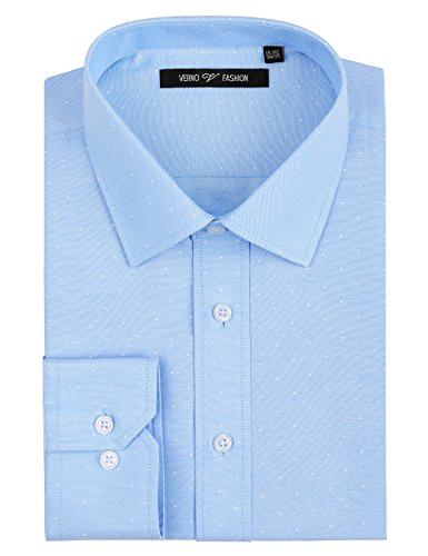 Verno Fashion Men's Printed Polk-a-Dot Classic Fit Long Sleeve Dress Shirt- Available in More Colors (17-17 1/2-34/35, (Printed Convertible Dress)