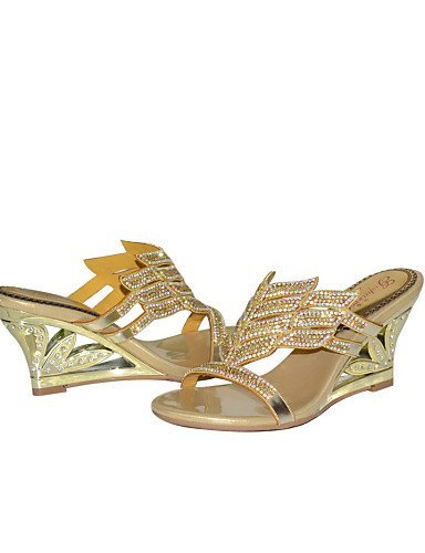 ShangYi Womens Shoes Leather Wedge Heel Heels Sandals Party & Evening / Dress / Casual Gold golden