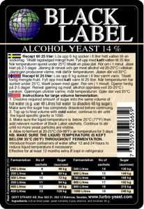 Black Label Turbo Charged Alcohol Yeast 14-17%