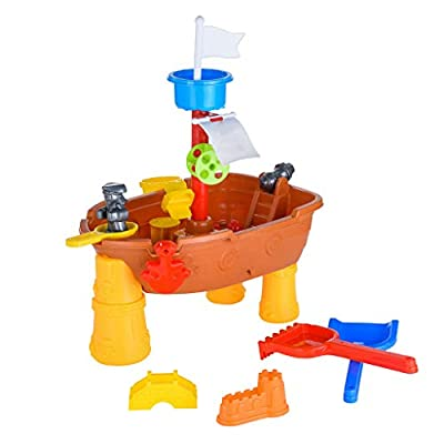 Sand Water Table for Kids, Sacow Round Sand Table Game Table Summer Beach Game Toy Sandglass Play Kids Sand Toys (C): Kitchen & Dining