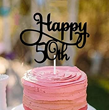 Utini 5 Pcs Set Gillter Gold Black Happy 50th Birthday Party Cake Topper Anniversary