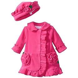 Bonnie Baby-girls Newborn Ruffle Fleece Coat And Hat Set