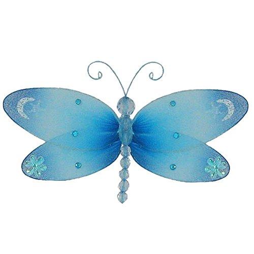 The Butterfly Grove Dakota Dragonfly 3D Hanging Mesh Nylon Decor, Hawaiian Blue, Small, 7
