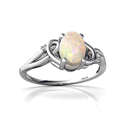 14kt White Gold Opal and Diamond 7x5mm Oval Swirls Ring - Size 7 - White Gold Oval Swirl