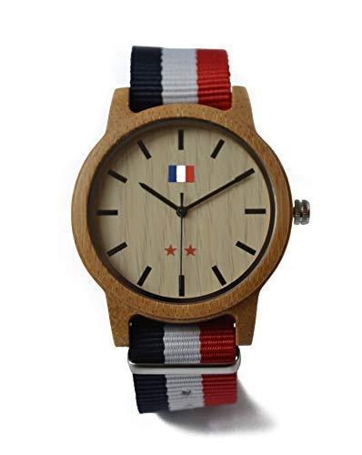 JEDDO Reloj de Madera Marrón, Serie Champion del Mundo, Grabado Bandera Francés, Pulsera Azul Blanco Rojo: Amazon.es: Relojes