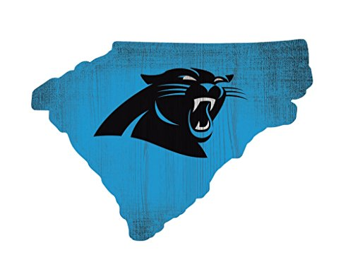 Carolina Panthers Wood Sign 12 Inch State Shape Design