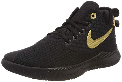 Nike Men's Lebron Witness III Basketball Shoes Black/Metallic Gold, Size 9