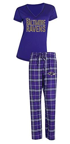 (Concepts Sport Baltimore Ravens NFL Super Duo Women's T-Shirt & Flannel Pajama Sleep Set)