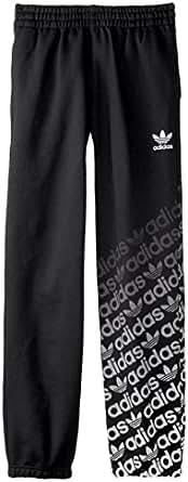 adidas Originals Kids Unisex Trefoil Fleece Pant (Little Kid/Big Kid) Black/Core White Pants MD (10-12 Big Kids)