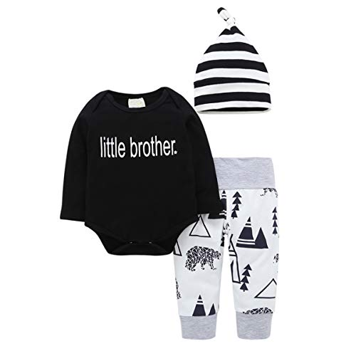 (Baby Boys Bodysuit Newborn Star Print Little Brother Tops Romper Triangle Pants Clothes Outfits Set 3Pcs (12-18m(90)))